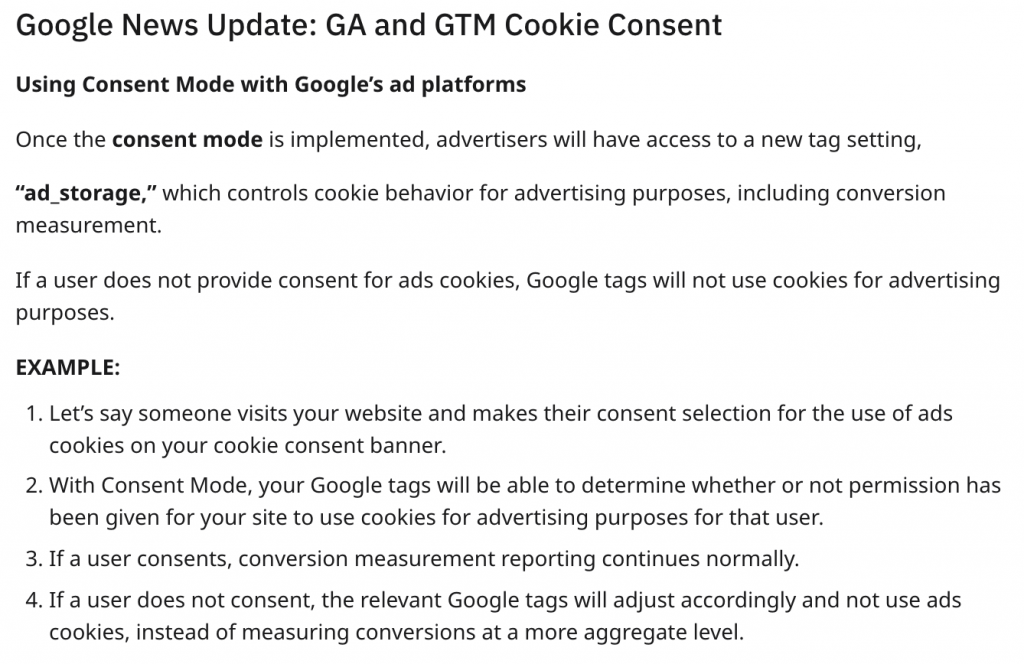 Google News Update: GA and GTM Cookie Consent